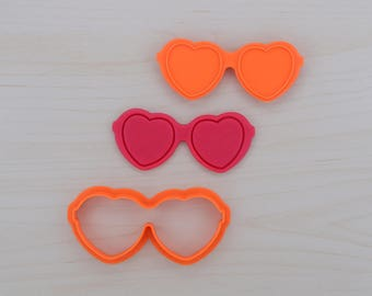 Heart Sunglasses Cookie Cutter and Stamp Set