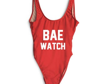Bae Watch Swimsuit. Bachelorette Swimsuit. One Piece Swimsuit. Swimwear. Beach Bathing Suit. High Cut One Piece Swimwear.