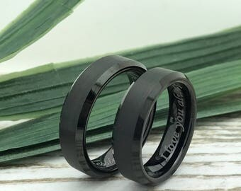 6mm Black Plated Tungsten Rings, His and Her Ring Set, Engraved Date Rings, Couples Ring Set, Couples Names Rings, Matching Couple Ring
