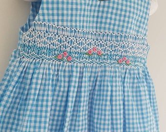 Beautiful blue checked hand smocked and embroidered  baby dress - size 3-6 months