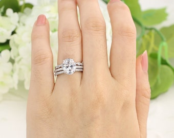 36 ctw oval engagement ring art deco ring bridal ring set promise ring