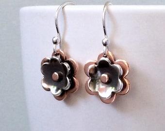 Flower earrings, silver copper earrings, rustic earrings, everyday earrings, minimalist earrings, dangle earrings, handmade, gift for her