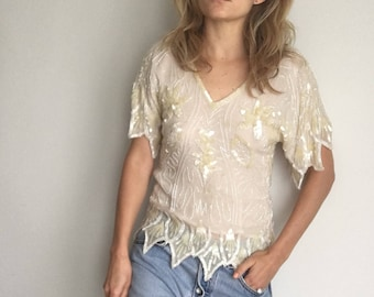 Vintage 1970s Sequin Disco Top by Dominique- Silk, Sequins & Beads- Sz Small