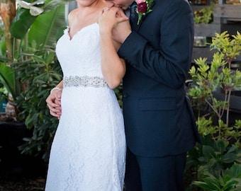 Crystal & Pearl Bridal Belt, Wedding Belt, Bridal Belt, Rhinestone Embellishment Sash Jeweled Prom Bridesmaid Dress Applique - Style 9P