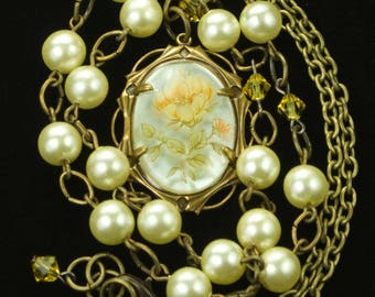 Floral Cabochon Pendant Necklace With Pearls and Swarovski Crystals