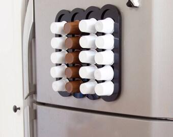 Black Keurig Storage Dispenser, K Cup Holder, Coffee Pod Organizer, Magnetic Storage, Wall Mount, Home Gift, Modern Design, Plexiglas Décor