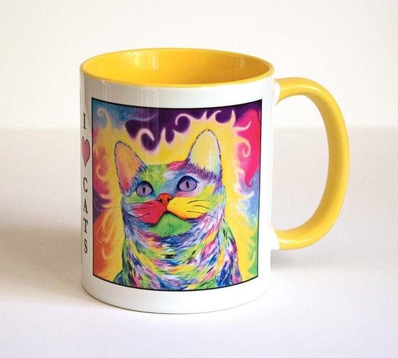Cat Mug - Cat Lover Gift, Coworker Gift, Cat Coffee Mug, Cat Coffee Cup, Cats Mug, Cat Gift, Cat Lady Gift, Gift For Her, I Heart Cats Mug.