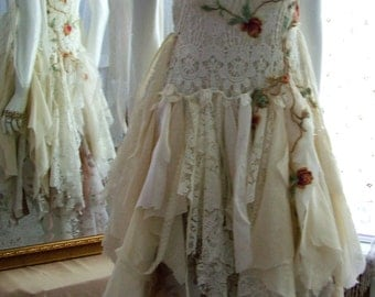 Bohemian lace up wedding dress cotton french style shabby cottage ragged tattered one of a kind  Size 6 - 10/12.