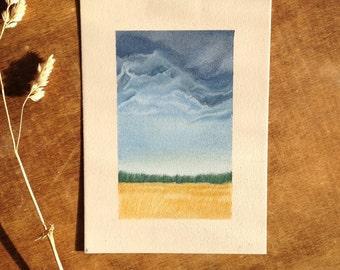 Brewing Clouds -- Original pastel pencil drawing by: Melissa Crook