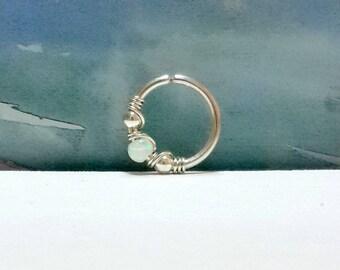 White opal septum ring, opal nose piercing,16 - 22 Gauge, 7 - 10mm inner diameter, gold septum ring, silver nose ring, tiny septum hoop
