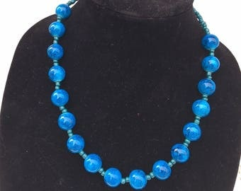 Chunky Blue Beaded Matinee Necklace