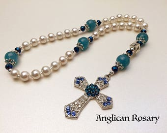Personalized Anglican Rosary. Christian Rosary. White and Blue Rosary. Rosary Gift. Protestant Prayer Beads. Episcopal Rosary. #AR26