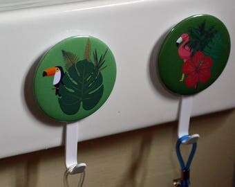 Set of two door hanging dish towels tea towels hooks washcloth fixing with suction cup tropical theme Flamingo toucan monstera