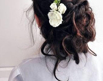 Wedding hair accessory Flower pins wedding flower girl chapangne hair flower cream Flower hair accessory wedding hair pin bridal hair pins