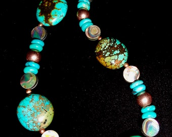 Eye Catching Turquoise Necklace, Abalone & Copper Necklace, Turquoise Stone, Adjustable Necklace,