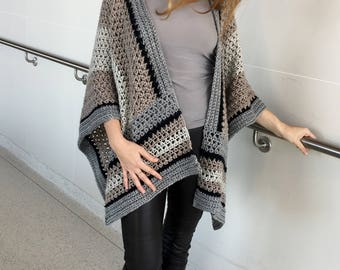 Crochet Ruana PATTERN, Crochet Poncho Pattern, Large Wrap, Crochet Sweater, Shawl, Top, Boho, Garment, PDF, Crochet for Women, Large Scarf
