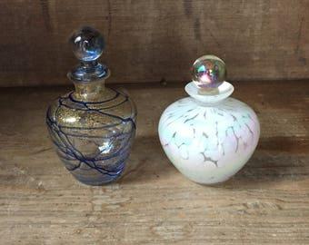 Pair Vintage Art Glass Perfume Bottles