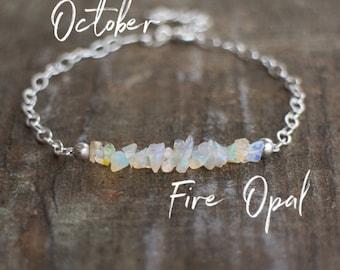 October Birthstone Bracelet, Raw Opal Bracelet, Fire Opal Jewelry, Ethiopian Welo Opal Bracelet, October Birthday, Gift for Girlfriend