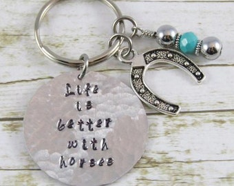 Horse Keychain, Life is better with horses, horse lover gift,  horse shoe keychain, horse gift, lucky horse shoe keychain, equine jewelry,