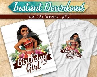 DIGITAL FILE Moana Iron On Transfer, Moana Birthday Girl, Moana birthday shirt, Moana Tshirt Transfer, Moana iron on