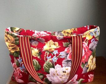 Vintage floral barkcloth fabric maxi carry bag - burgundy/pink/yellow