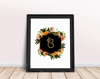 Baby Initial Decor B   Floral Alphabet, Name Letter Poster, Letter Floral Wreath, Floral Wreath Letter, Name Letter Poster, Bianca, Bethany