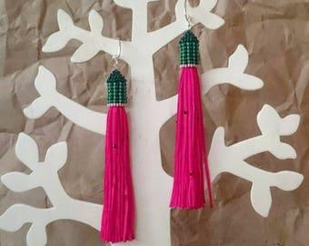 watermelon earrings fuchsia nylon tassel pink textile tassels seed beads textile tassel long earrings thread tassel long earrings beaded