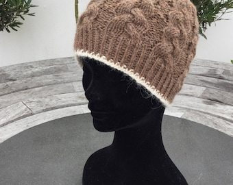 Ladies alpaca hat, alpaca beanie, brown pure alpaca cable beanie hat by Willow Luxury ( one size)