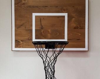 Pallet Wood Basketball Hoop With Painted Hoop Lines. Wall Mounted Pallet Wood Basketball Backboard and Rim.