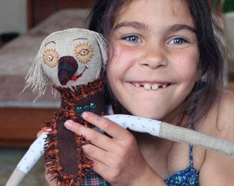 Girl soft doll toy gift, Stuffed dolls linen Pinocchio, Eco- friendly handmade clothe doll, Rag children doll, Little girls friend doll 22.4