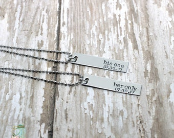 Hand stamped couples bar necklace set / his one, her only / personalized with anniversary date / his and hers / couples necklaces