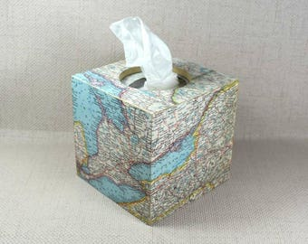 Vintage Map Tissue Box Cover, Gift for Her, Tissue Box, Vintage Map, Tissue Storage, Tissue Box Holder, Valentine's Day, Free Gift Wrapping