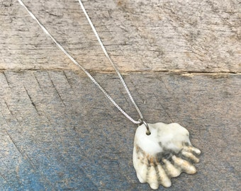 """Real Shell Necklace Kittens Paw Black and White - sterling silver 16"""" - Atlantic Ocean - beach jewelry - gift for her"""