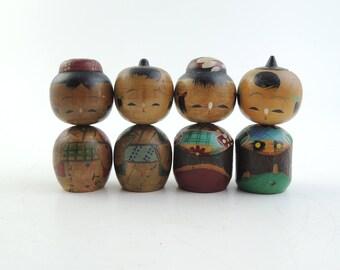 Vintage kokeshi doll, set of 4