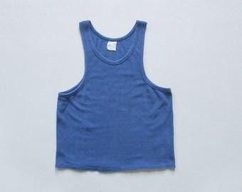 vintage mesh cotton tank / blue deep cut tank top / 70s sleeveless t shirt / womens M