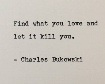 Charles Bukowski quote hand typed on antique typewriter scrapbooking