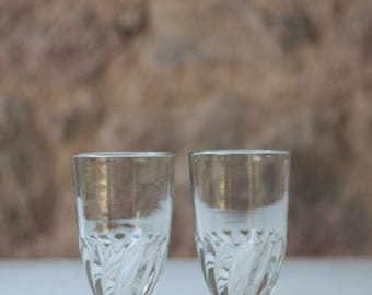 Pair of Antique French Absinthe Glasses, from the late 1800s