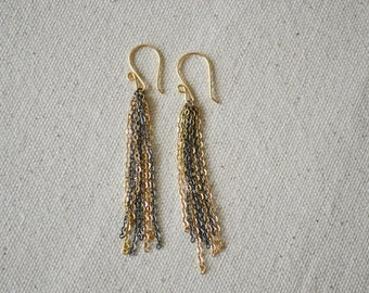 Gold Tassel Earrings, Tassel Earrings, Gold Earrings, Dangle Earrings, Mixed Metal Jewelry.