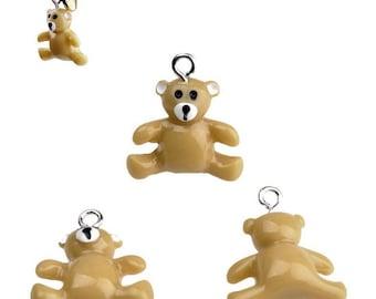 A teddy bear 22 light brown resin 3D charm x 19 mm - Teddy bear pendant