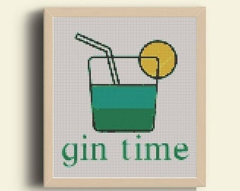 Funny Cross Stitch - Gin time - Custom Embroidery Hoop Art - Naughty Cross Stitch Quote - Funny Cross Stitch Wall Art - Pdf pattern -instant