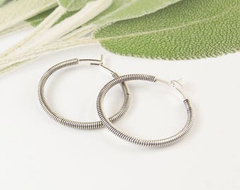 Sterling Silver Mixed Metal Earrings, Silver and Black Hoop Earrings, Mixed Metal Earrings,Twisted Hoop Earrings,Modern Mixed Metal Earrings