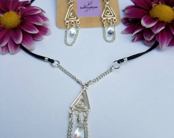 Silver Earring Necklace Set/Drop Crystal/Handmade Jewelry