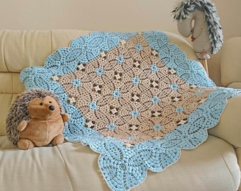 newborn baby crochet blanket Granny square beige blue baby afghan Infant boy gift Baby shower gift natural cotton blanket Photo baby props