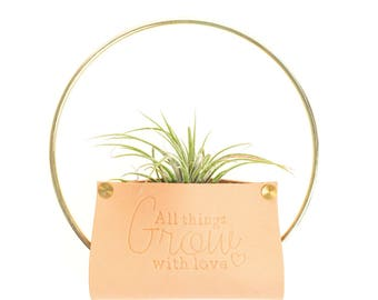 Leather Air Plant Holder | Geometric Wall Hanger Planter | Unique Plant Stand | All Things Grow With Love | Air Plants Indoor Decorations