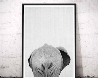 Elephant Print, Large Modern Prints, Bathroom Funny Decor, Minimalist Large Art, Safari Nursery Set, Home Decor, Animal Butt, Gift For Her