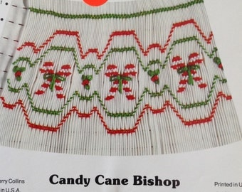 Candy Cane Bishop smocking plate, holiday smocking, Christmas smocking plate, vintage smocking plate,  candy cane smocking