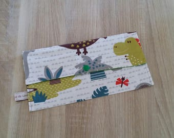Fabric bag is customizable to hold his towel canteen dinosaurs, JUNGLES, stars.