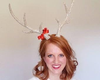 reindeer headband adult, gold antler headband, silver and gold headband, ugly sweater party headband, holiday headband for women, festive