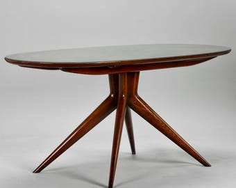 Mid-Century Italian Oval Walnut Dining Table with Green Glass Top [7854]