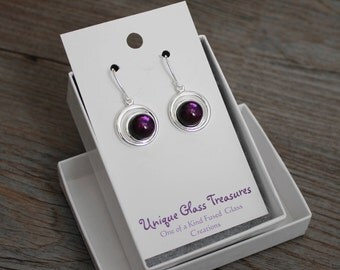 Double Silver Circles and Dark Purple Dichroic Fused Glass Earrings on Silver Fishhooks; Plum; Unique Glass Treasures